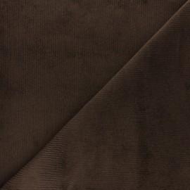Tissu velours 500 raies élasthanne Destiny - chocolat x 10cm