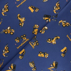 Cotton jersey fabric - blue Worksite x 10cm