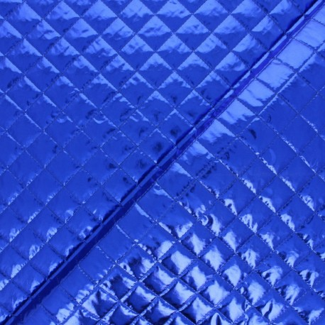 Single-sided Quilted metallic fabric - Blue Wonka x 10cm