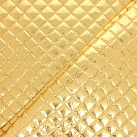 Single-sided Quilted metallic fabric - silver Wonka x 10cm