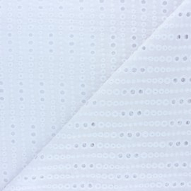 Openwork cotton voile fabric - white Noélia x 10cm