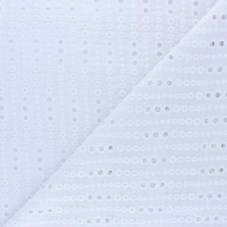 Openwork cotton voile fabric - white Noélia x 10cm