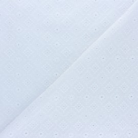 ♥ Coupon 20 cm X 130 cm ♥  Openwork cotton voile fabric - white Moorland View