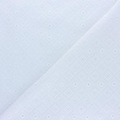 Openwork cotton voile fabric - white Moorland View x 10cm