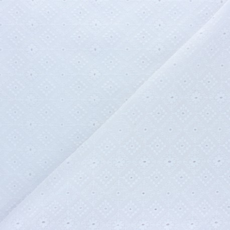 Openwork cotton voile fabric - white Moorland View x 10cm
