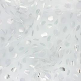 Tissu tulle Pois Lurex Magico - blanc et argent x 10cm