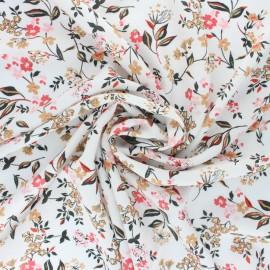 Viscose Fabric - White Flora x 10cm