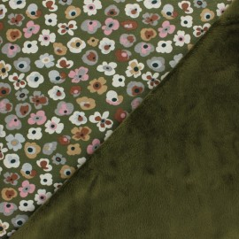 Sweatshirt fabric with minkee - khaki Flower Lover x 10cm