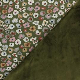 Tissu sweat envers minkee Flower Lover - kaki x 10cm