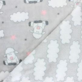 Tissu Doudou double face Sleep Well - gris x 10cm