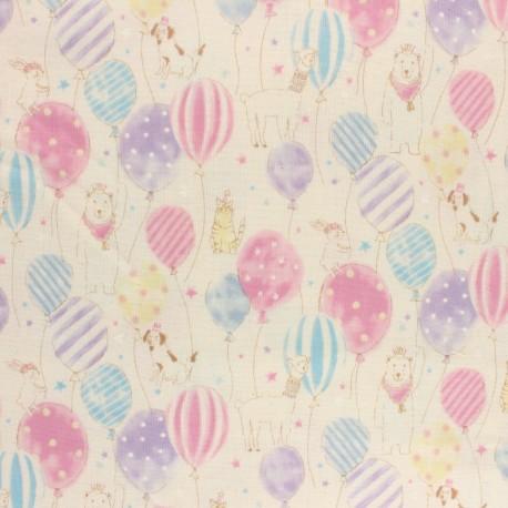 Tissu double gaze de coton Kokka Animal Birthday - écru x 10 cm
