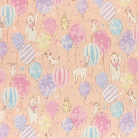 Kokka double gauze coton fabric - pink Animal Birthday x 10 cm