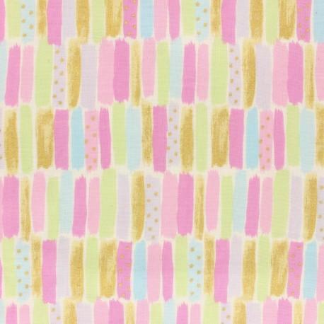 Kokka double gauze coton fabric - pink Poetic Stripes x 10 cm