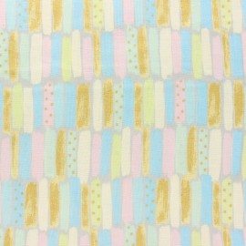 Kokka double gauze coton fabric - blue Poetic Stripes x 10 cm