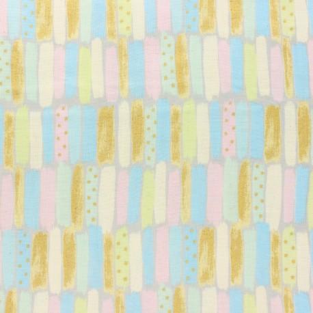 Kokka double gauze coton fabric - blue Poetic Stripes x 10 cm