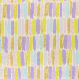 Kokka double gauze coton fabric - purple Poetic Stripes x 10 cm