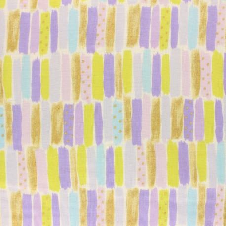 Tissu double gaze de coton Kokka Poetic Stripes - violet x 10 cm