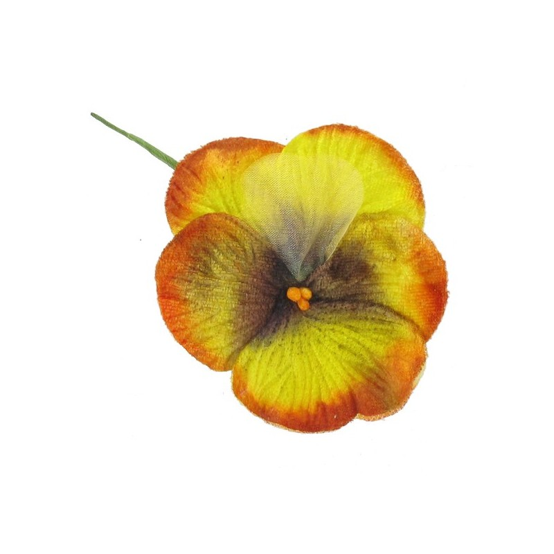 Fleur A Coller Coudre Pensee Velours Orange Jaune Ma Petite Mercerie