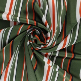 Embossed Satin Fabric - Green stripes x 10cm