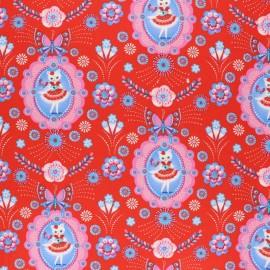 Fiona Hewitt poplin fabric - red Flamenco kitty x 10cm