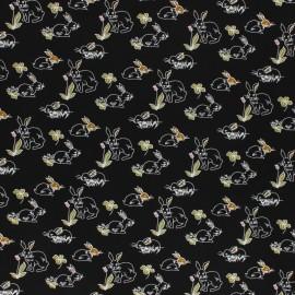 Viscose Fabric - Black Lapinette x 10cm