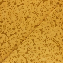 Tissu éponge jersey Jardin de Mai - moutarde x 10cm