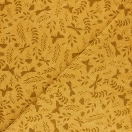 Tissu éponge jersey - moutarde x 10cm