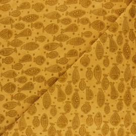Jersey towel fabric - mustard May's Garden x 10cm