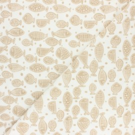 Jersey towel fabric - mustard Poisson d'avril x 10cm