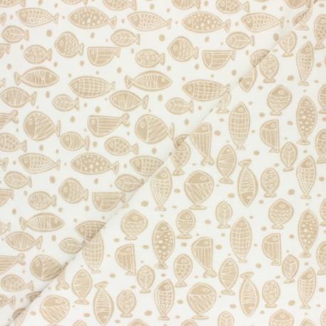 Tissu éponge jersey Poisson d'avril - moutarde x 10cm