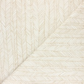 Jersey towel fabric - mustard Botanic stripe x 10cm