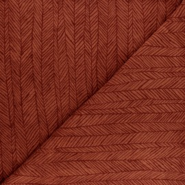 Jersey towel fabric - white Botanic stripe x 10cm