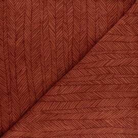 Tissu éponge jersey Botanic stripe - rouille x 10cm