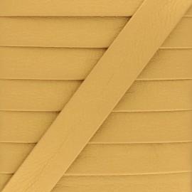 Metallic Faux Leather Bias Binding - Gold Grained x 1m