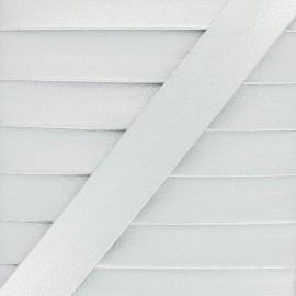 Biais Simili Cuir Métallisé Grainé - Argent x 1m