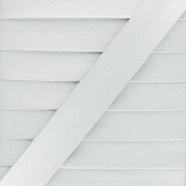 Metallic Faux Leather Bias Binding - Silver Grained x 1m