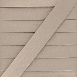 Metallic Faux Leather Bias Binding - Glossy Brown Grained x 1m