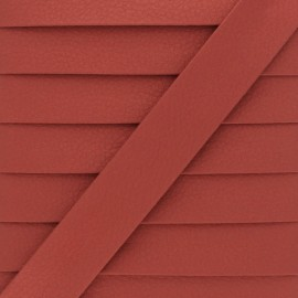 Metallic Faux Leather Bias Binding - Red Grained x 1m