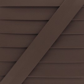Matte Faux Leather Bias Binding - Cacao Grained x 1m