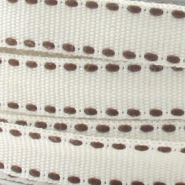 Grosgrain aspect chocolate stitched-edge ribbon - ecru