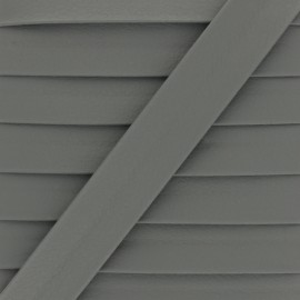 Matte Faux Leather Bias Binding - Grey Grained x 1m