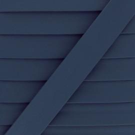 Biais Simili Cuir Grainé Mat - Bleu marine x 1m