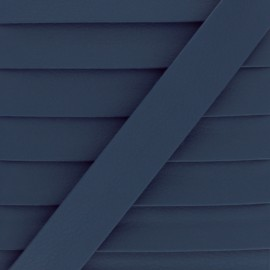Matte Faux Leather Bias Binding - Navy Blue Grained x 1m