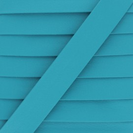 Matte Faux Leather Bias Binding - Turquoise Grained x 1m