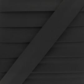 Biais Simili Cuir Grainé Mat - Noir x 1m