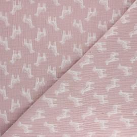 Tissu double gaze de coton Zèbre - eau de rose x 10cm
