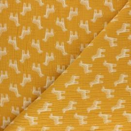 Tissu double gaze de coton Zèbre - gris clair x 10cm
