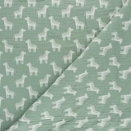 Tissu double gaze de coton Zèbre - opaline x 10cm