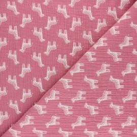 Double gauze cotton fabric - rose water zebra x 10cm