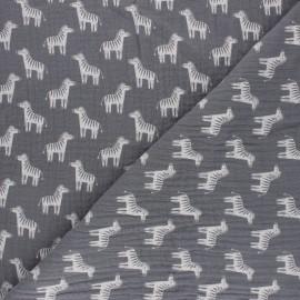 Double gauze cotton fabric - light grey zebra x 10cm